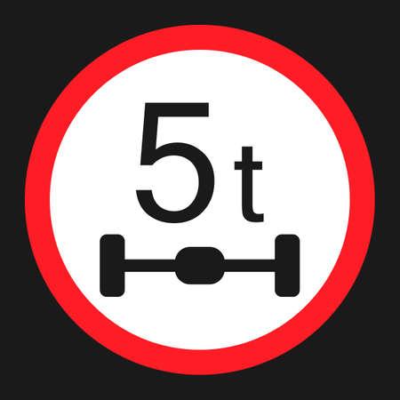 최대 액셀로드 5 톤 평면 아이콘, 교통 및 도로 표지판, 벡터 그래픽, 검은 색 바탕에 솔리드 패턴, 10 분기.