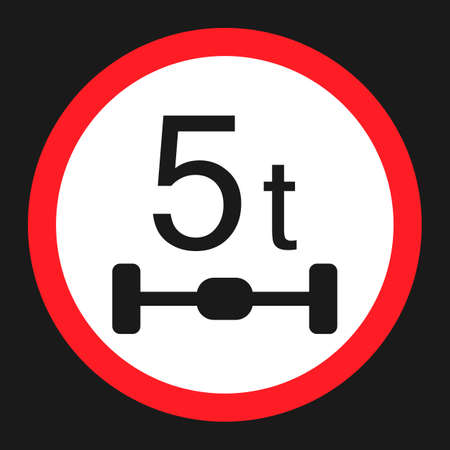 Maximum Axle Load 5 tones flat icon, Traffic and road sign, vector graphics, a solid pattern on a black background, eps 10.