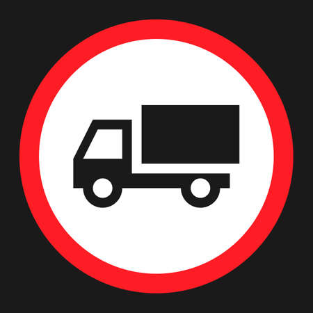 restricted area sign: No truck prohibited flat icon, Traffic and road sign, vector graphics, a solid pattern on a black background, eps 10.