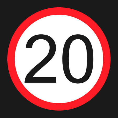 Maximum speed limit 20 flat icon, Traffic and road sign, vector graphics, a solid pattern on a black background, eps 10.