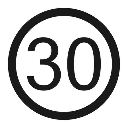 Maximum speed limit 30 line icon, Traffic and road sign, vector graphics, a solid pattern on a white background, eps 10.