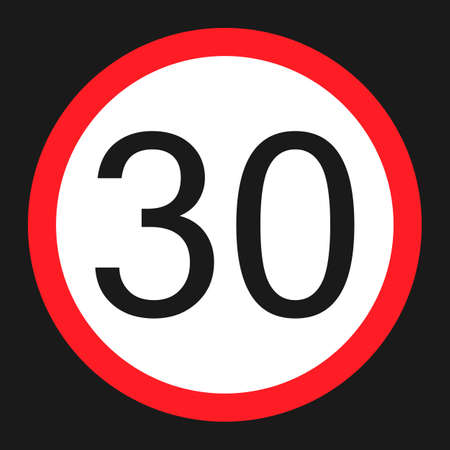 Maximum speed limit 30 flat icon, Traffic and road sign, vector graphics, a solid pattern on a black background, eps 10.
