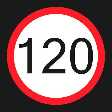 Maximum speed limit 120 flat icon, Traffic and road sign, vector graphics, a solid pattern on a black background, eps 10. Illustration