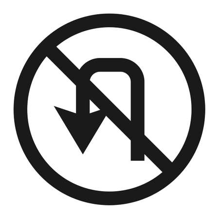 No u-turn prohibition sign line icon, Traffic and road sign, vector graphics.