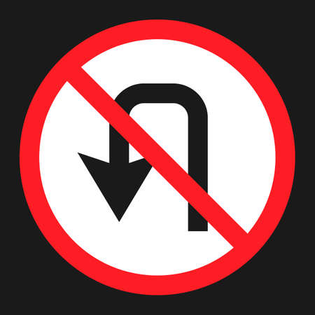 command: No u-turn prohibition sign flat icon, Traffic and road sign, vector graphics, a solid pattern on a black background, eps 10.