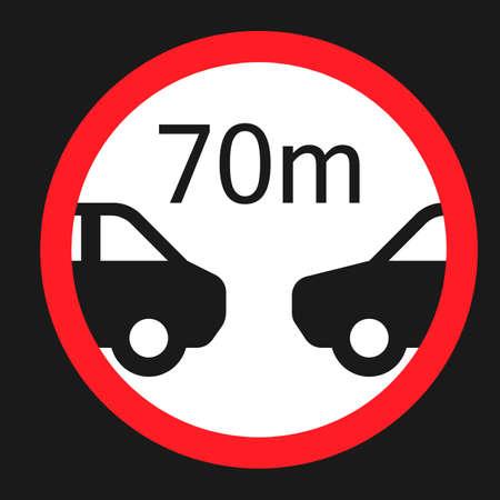 Icône plate de distance minimale de 70m, signe de circulation et de la route, graphiques vectoriels, un motif solide sur un fond noir, eps 10. Banque d'images - 76972073