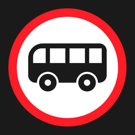 No bus prohibition sign flat icon, Traffic and road sign, vector graphics, a solid pattern on a black background, eps 10. Illustration