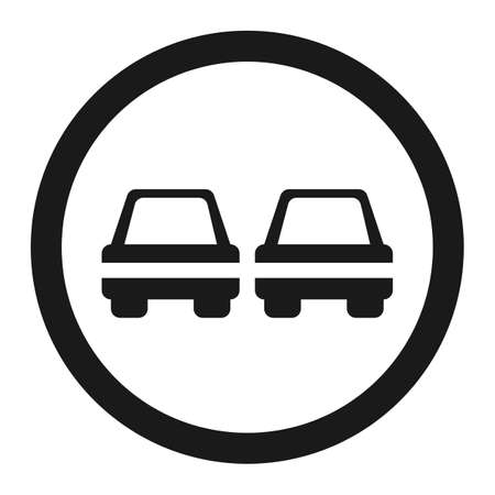 No Overtaking prohibited sign line icon, Traffic and road sign, vector graphics. Illustration