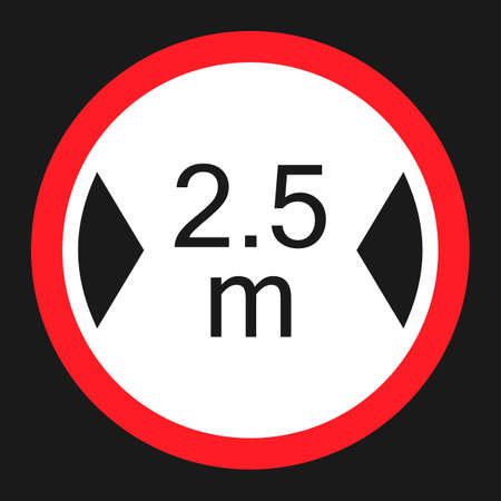 Limiting width flat icon, Traffic and road sign, vector graphics, a solid pattern on a black background, eps 10.