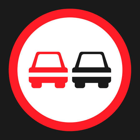 No Overtaking prohibited sign flat icon, Traffic and road sign, vector graphics, a solid pattern on a black background, eps 10. Illustration