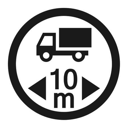 Maximum vehicle length sign line icon, Traffic and road sign, vector graphics, a solid pattern