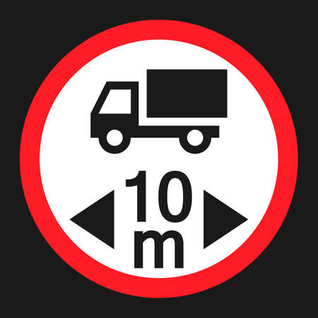 handed: Maximum vehicle length sign flat icon, Traffic and road sign, vector graphics, a solid pattern on a black background, eps 10. Illustration