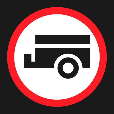 dumping: No trailers prohibited sign flat icon, Traffic and road sign, vector graphics, a solid pattern on a black background, eps 10. Illustration