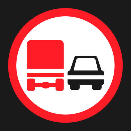 Overtaking ban for truck prohibition signf flat icon, Traffic and road sign, vector graphics, a solid pattern on a black background, eps 10. Illustration