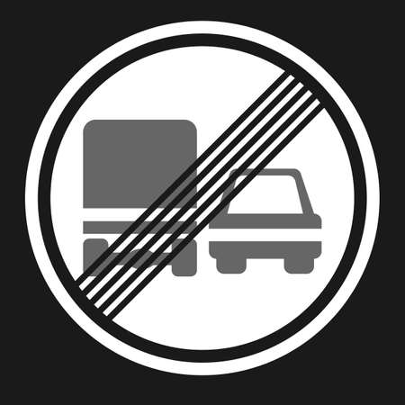 prohibiting: End of prohibition overtaking for trucks sign flat icon, Traffic and road sign, vector graphics, a solid pattern on a black background, eps 10. Illustration
