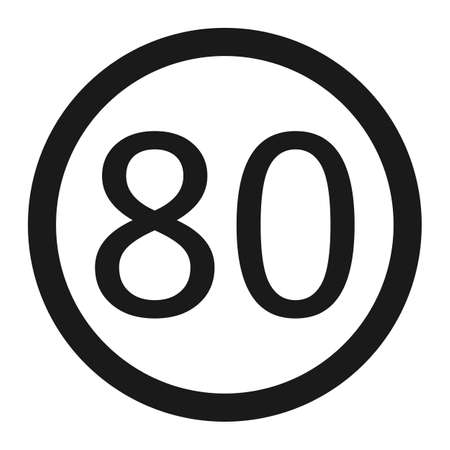 Maximum speed limit 80 line icon, Traffic and road sign, vector graphics, a solid pattern on a white background, eps 10. Illustration