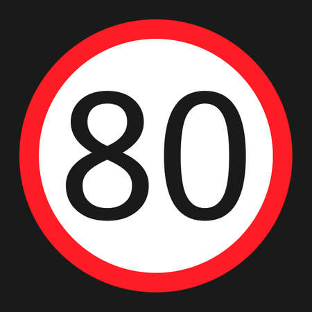 Maximum speed limit 80 flat icon, Traffic and road sign, vector graphics, a solid pattern on a black background, eps 10.