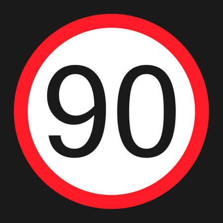 Maximum speed limit 90 flat icon, Traffic and road sign, vector graphics, a solid pattern on a black background, eps 10. Illustration