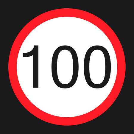 Maximum speed limit 100 flat icon, Traffic and road sign, vector graphics, a solid pattern on a black background, eps 10.