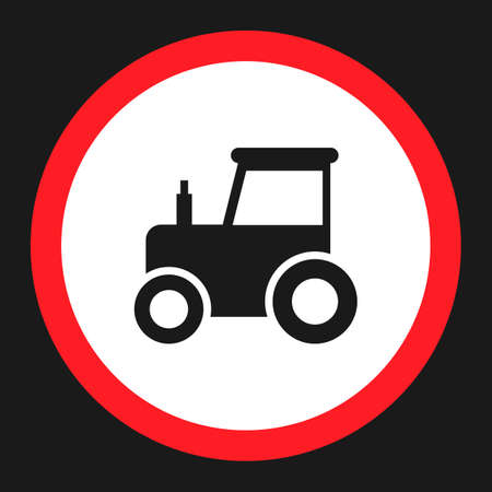 No tractor prohibition sign flat icon, Traffic and road sign, vector graphics, a solid pattern on a black background, eps 10. Illustration