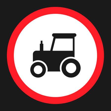 interdiction: Pas de signe d'interdiction de tracteur icône plate, Signalisation routière et routière, graphiques vectoriels, un motif solide sur fond noir, eps 10. Illustration