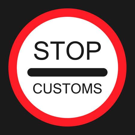 stop customs sign flat icon, Traffic and road sign, vector graphics, a solid pattern on a black background, eps 10. Vector Illustration