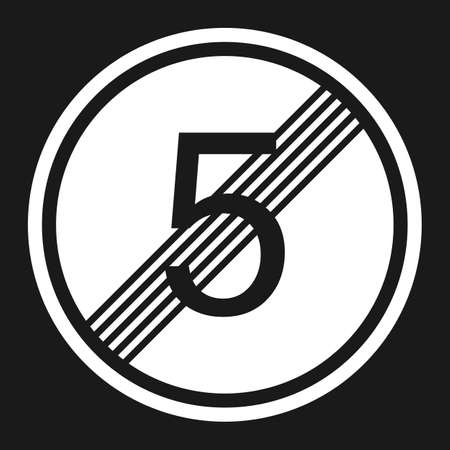 prohibiting: End maximum speed limit 5 sign flat icon, Traffic and road sign, vector graphics, a solid pattern on a black background, eps 10 Illustration