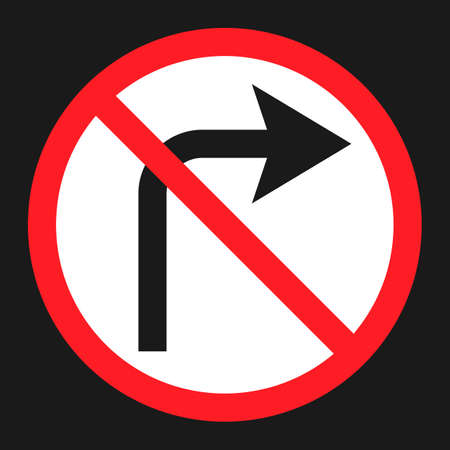command: No Right prohibition turn sign flat icon, Traffic and road sign, vector graphics, a solid pattern on a black background, eps 10.
