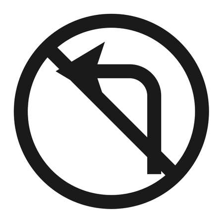harm: No left prohibition turn sign line icon, Traffic and road sign, vector graphics, a solid pattern on a white background, eps 10.