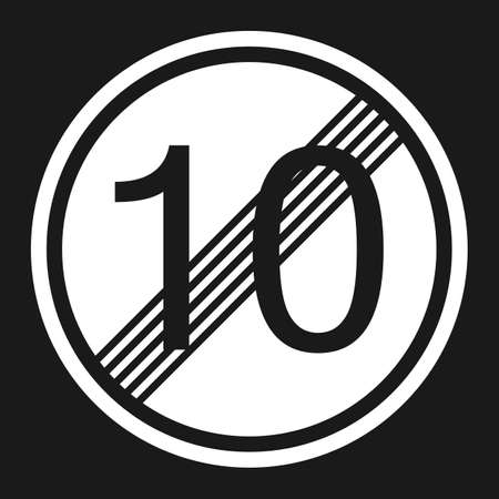 prohibiting: End maximum speed limit 10 sign flat icon, Traffic and road sign, vector graphics, a solid pattern on a black background, eps 10 Illustration