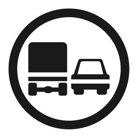 Overtaking ban for truck prohibition sign line icon, Traffic and road sign, vector graphics, a solid pattern on a white background, eps 10.