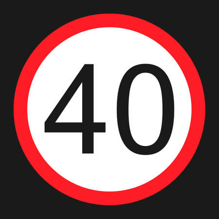 Maximum speed limit 40 flat icon, Traffic and road sign, vector graphics, a solid pattern on a black background, eps 10.