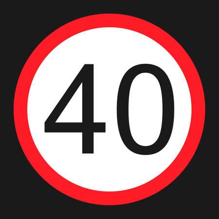 Maximummaximum snelheid 40 vlak pictogram, Verkeer en verkeersteken, vectorgrafiek, een stevig patroon op een zwarte achtergrond, eps 10.