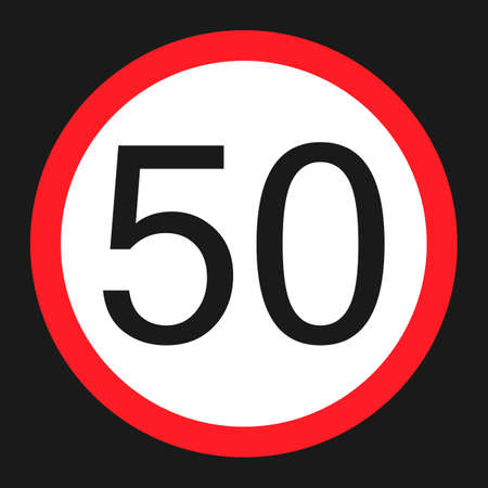 Maximum speed limit 50 flat icon, Traffic and road sign, vector graphics, a solid pattern on a black background, eps 10.