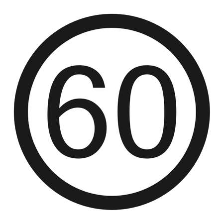 Maximum speed limit 60 line icon, Traffic and road sign, vector graphics, a solid pattern on a white background, eps 10. Illustration