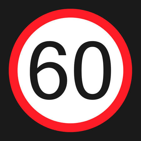Maximum speed limit 60 flat icon, Traffic and road sign, vector graphics, a solid pattern on a black background, eps 10.