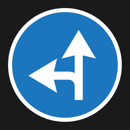Compulsory ahead or left sign flat icon, Traffic and road sign, vector graphics, a solid pattern on a black background, eps 10 Illustration