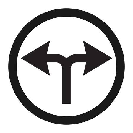 danger ahead: turn left or right traffic sign line icon, Traffic and road sign, vector graphics, a solid pattern on a white background, eps 10