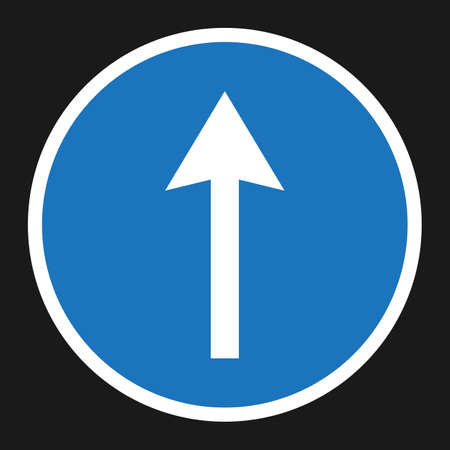 motorist: Ahead Only and Drive Straight sign flat icon, Traffic and road sign, vector graphics, a solid pattern on a black background, eps 10 Illustration