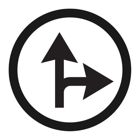 Compulsory ahead or right sign line icon, Traffic and road sign, vector graphics.