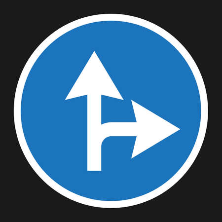 compulsory: Compulsory ahead or right sign flat icon, Traffic and road sign, vector graphics, a solid pattern on a black background, eps 10