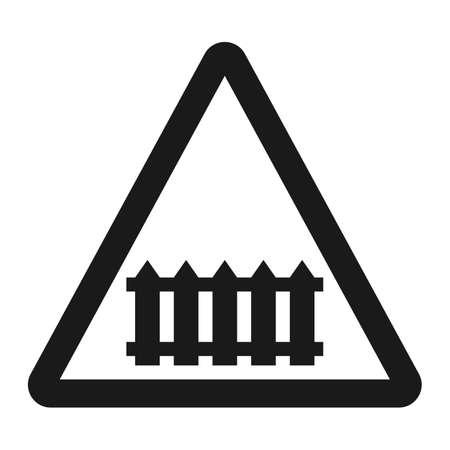 バリア記号線アイコン、交通と道路標識は、ベクトル グラフィックスの踏切。  イラスト・ベクター素材