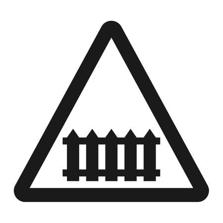 dangerous: Railroad crossing with barrier sign line icon, Traffic and road sign, vector graphics.