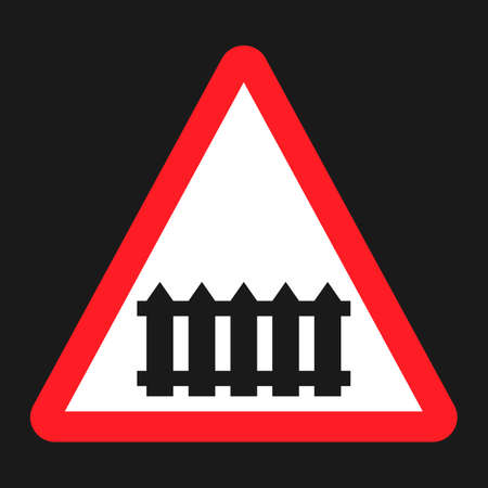 Railroad crossing with barrier sign flat icon, Traffic and road sign, vector graphics, a solid pattern on a black background, eps 10 Illustration