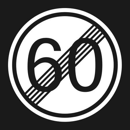 End maximum speed limit 60 sign flat icon, Traffic and road sign, vector graphics, a solid pattern on a black background, eps 10 Illustration
