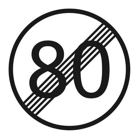 prohibiting: End maximum speed limit 80 sign line icon, Traffic and road sign, vector graphics, a solid pattern on a white background, eps 10.