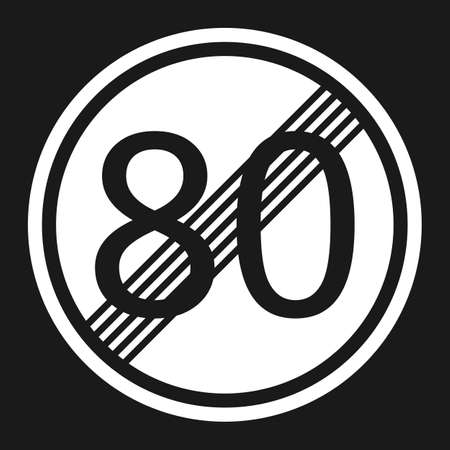 End maximum speed limit 80 sign flat icon, Traffic and road sign, vector graphics, a solid pattern on a black background, eps 10