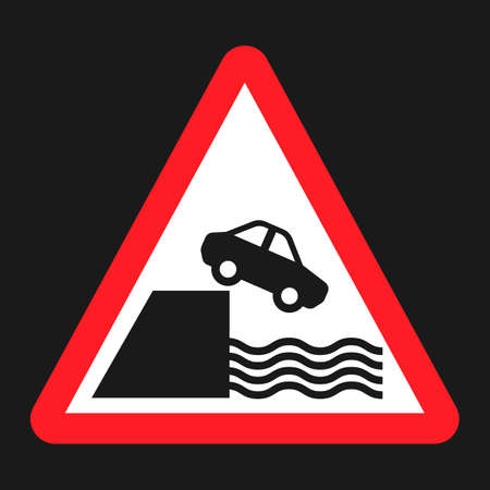 Embankment sign flat icon, Traffic and road sign, vector graphics, a solid pattern on a black background, eps 10 Vectores