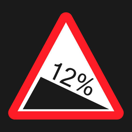 Steep descent sign flat icon, Traffic and road sign, vector graphics, a solid pattern on a black background, eps 10 Illustration
