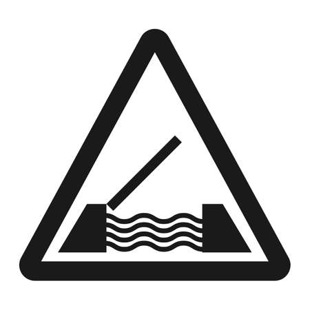 dangerous: Drawbridge ahead sign line icon, Traffic and road sign, vector graphics, a solid pattern on a white background, eps 10